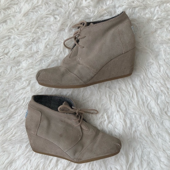 b02019db0972 Toms Shoes - Tom s Kala desert wedge booties brown Taupe suede